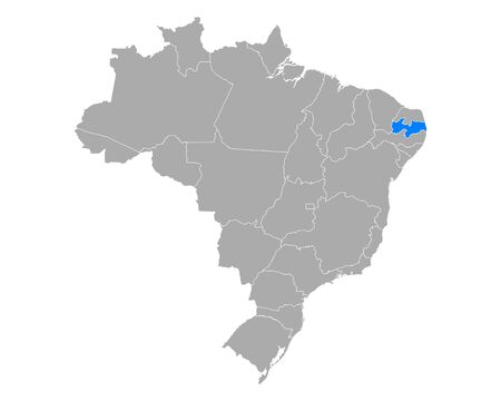 Map of Paraiba in Brazil Иллюстрация