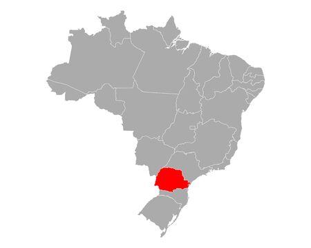 Map of Parana in Brazil