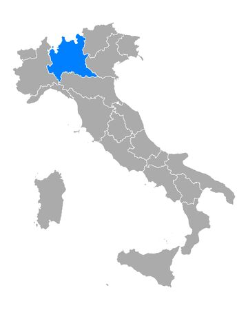 Map of Lombardy in Italy Vettoriali