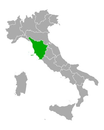 Map of Tuscany in Italy