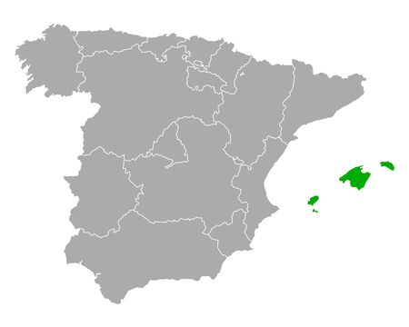 Map of Balearic Islands in Spain