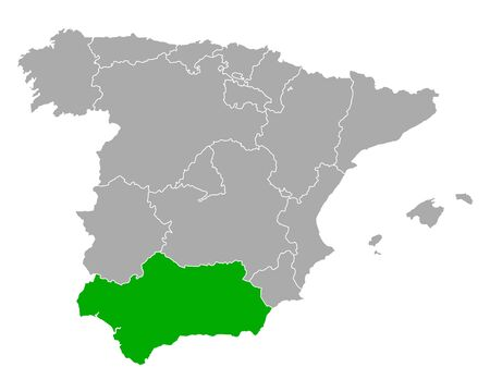 Map of Andalusia in Spain