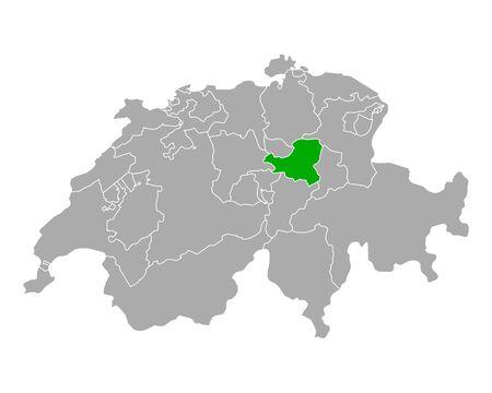 Map of Schwyz in Switzerland