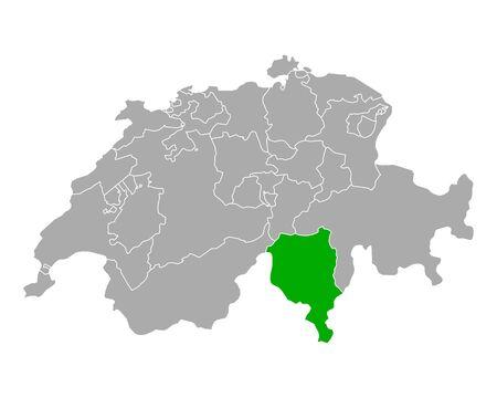 Map of Ticino in Switzerland