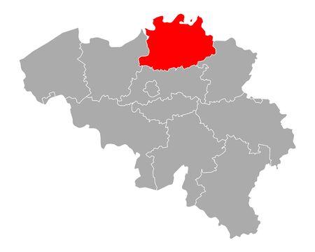 Map of Antwerp in Belgium