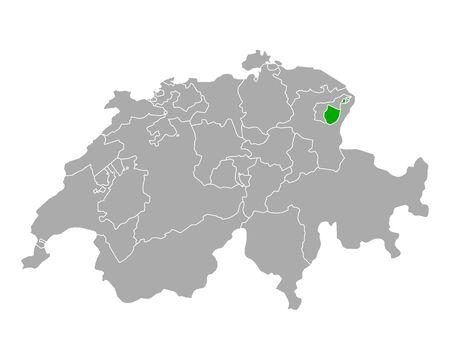 Map of Appenzell Inner Rhodes in Switzerland