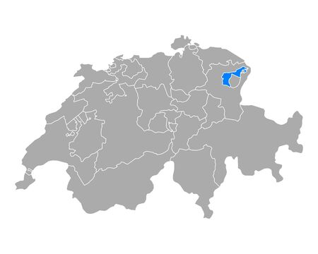 Map of Appenzell Outer Rhodes in Switzerland Vettoriali