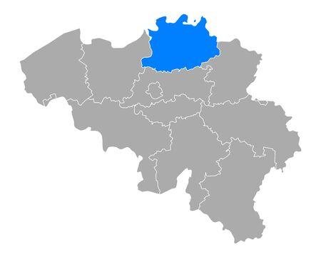 Map of Antwerp in Belgium Vetores