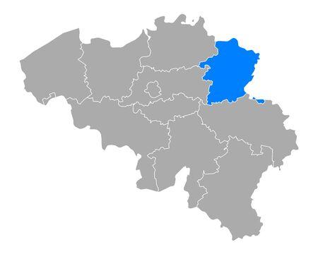 Map of Limburg in Belgium