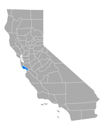 Map of Santa Cruz in California Vector Illustration