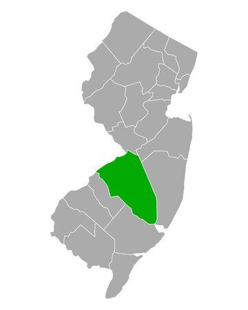 Map of Burlington in New Jersey Illusztráció