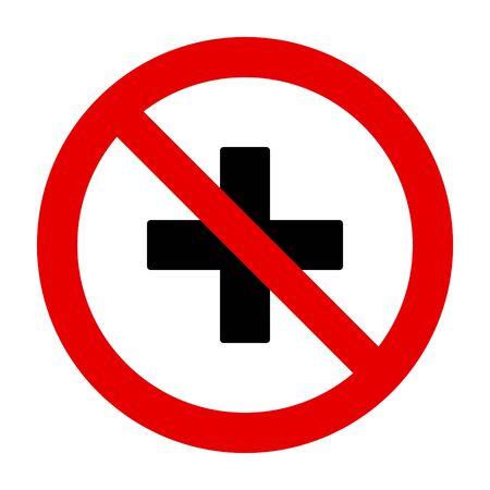 Plus and prohibition sign Illustration