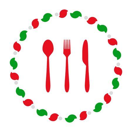 Cutlery and wreath 向量圖像