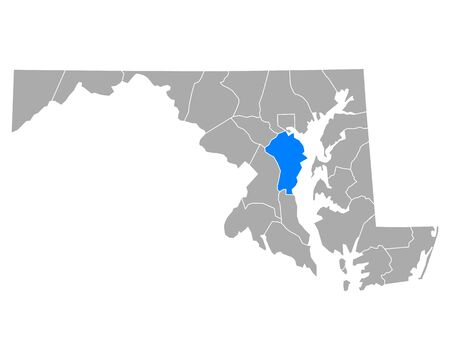 Map of Anne Arundel in Maryland
