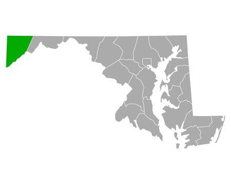 Map of Garrett in Maryland