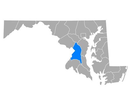 Map of Prince George in Maryland
