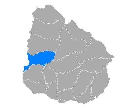 Map of Rio Negro in Uruguay Ilustrace