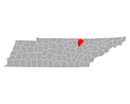 Map of Fentress in Tennessee