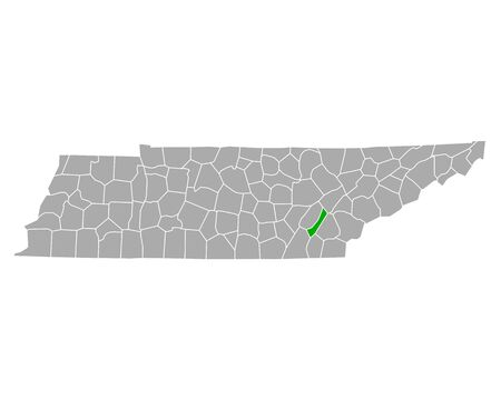 Map of Meigs in Tennessee Иллюстрация