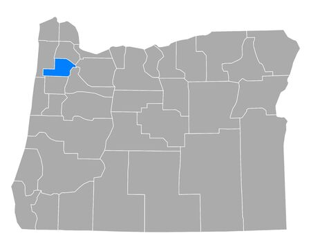 Map of Yamhill in Oregon