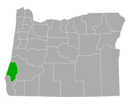 Map of Coos in Oregon