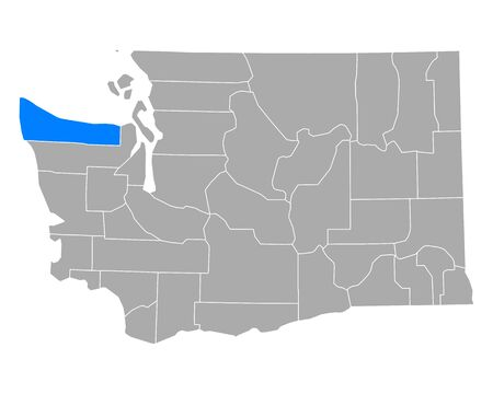 Map of Clallam in Washington Иллюстрация
