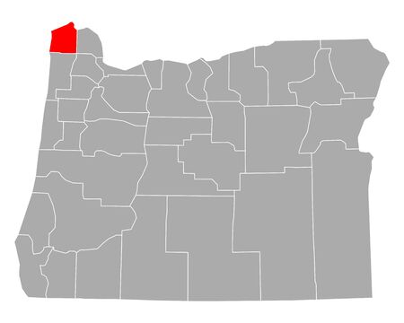 Map of Clatsop in Oregon Иллюстрация
