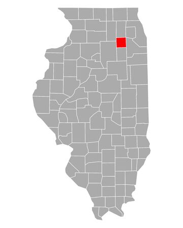 Map of Kendall in Illinois Иллюстрация