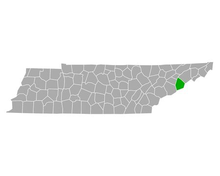 Map of Cocke in Tennessee