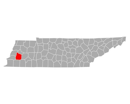 Map of Haywood in Tennessee
