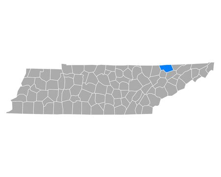 Map of Claiborne in Tennessee
