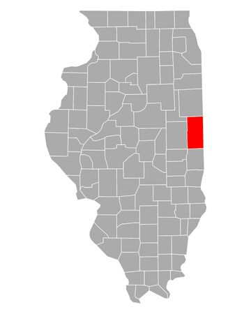 Map of Vermilion in Illinois Иллюстрация