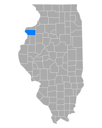 Map of Mercer in Illinois