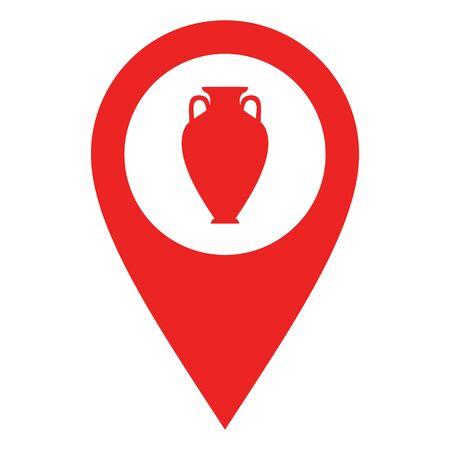 Amphora and location pin Illustration