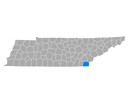 Map of Polk in Tennessee