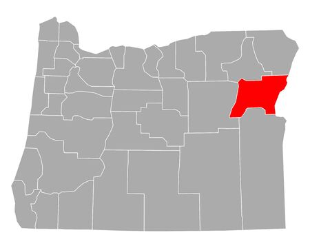 Map of Baker in Oregon Иллюстрация