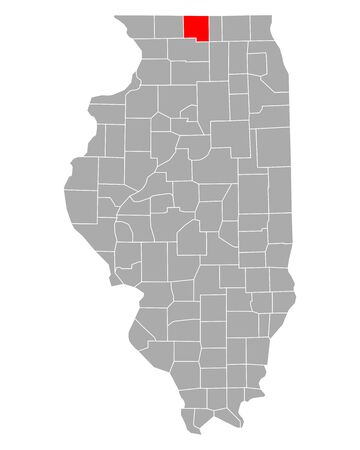 Map of Winnebago in Illinois Иллюстрация