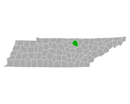 Map of Overton in Tennessee