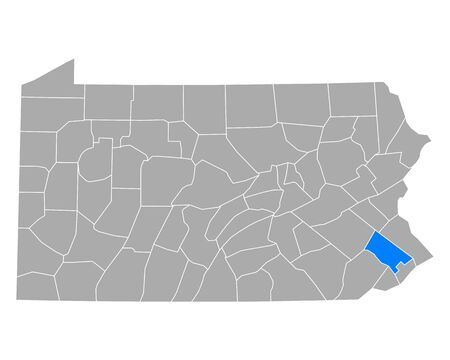 Map of Montgomery in Pennsylvania Иллюстрация