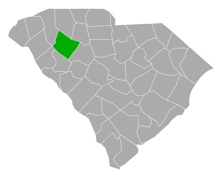 Map of Laurens in South Carolina