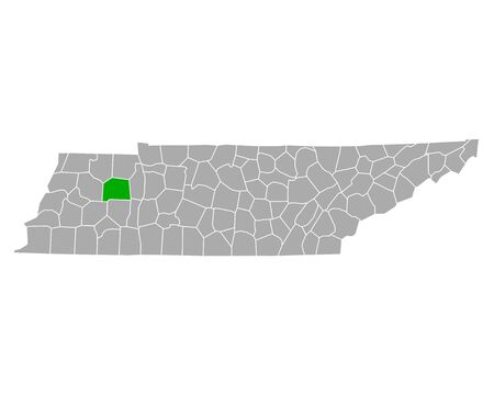 Map of Carroll in Tennessee Иллюстрация