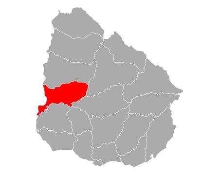 Map of Rio negro in Uruguay