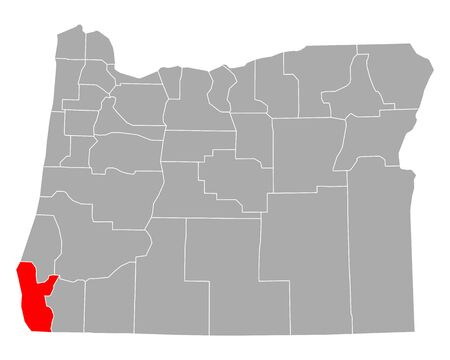Map of Curry in Oregon