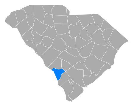 Map of Allendale in South Carolina Ilustração