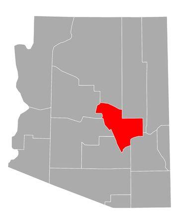 Map of Gila in Arizona