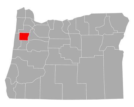 Map of Polk in Oregon