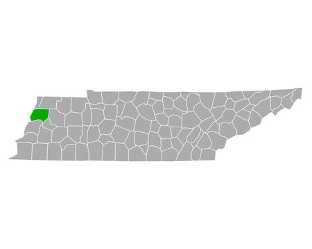 Map of Dyer in Tennessee