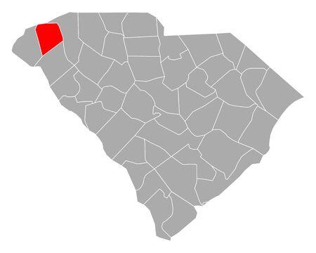 Map of Pickens in South Carolina Ilustração