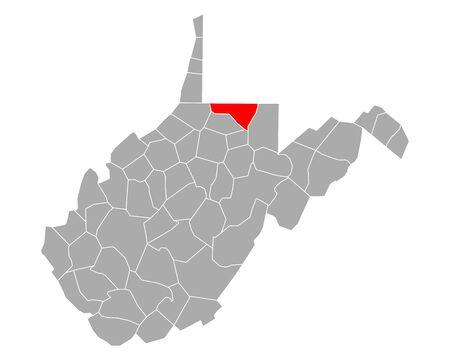 Map of Monongalia in West Virginia