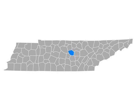 Map of DeKalb in Tennessee
